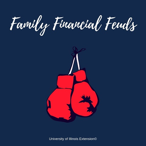 "Illustration of boxing gloves with text ""Family Financial Feuds"""