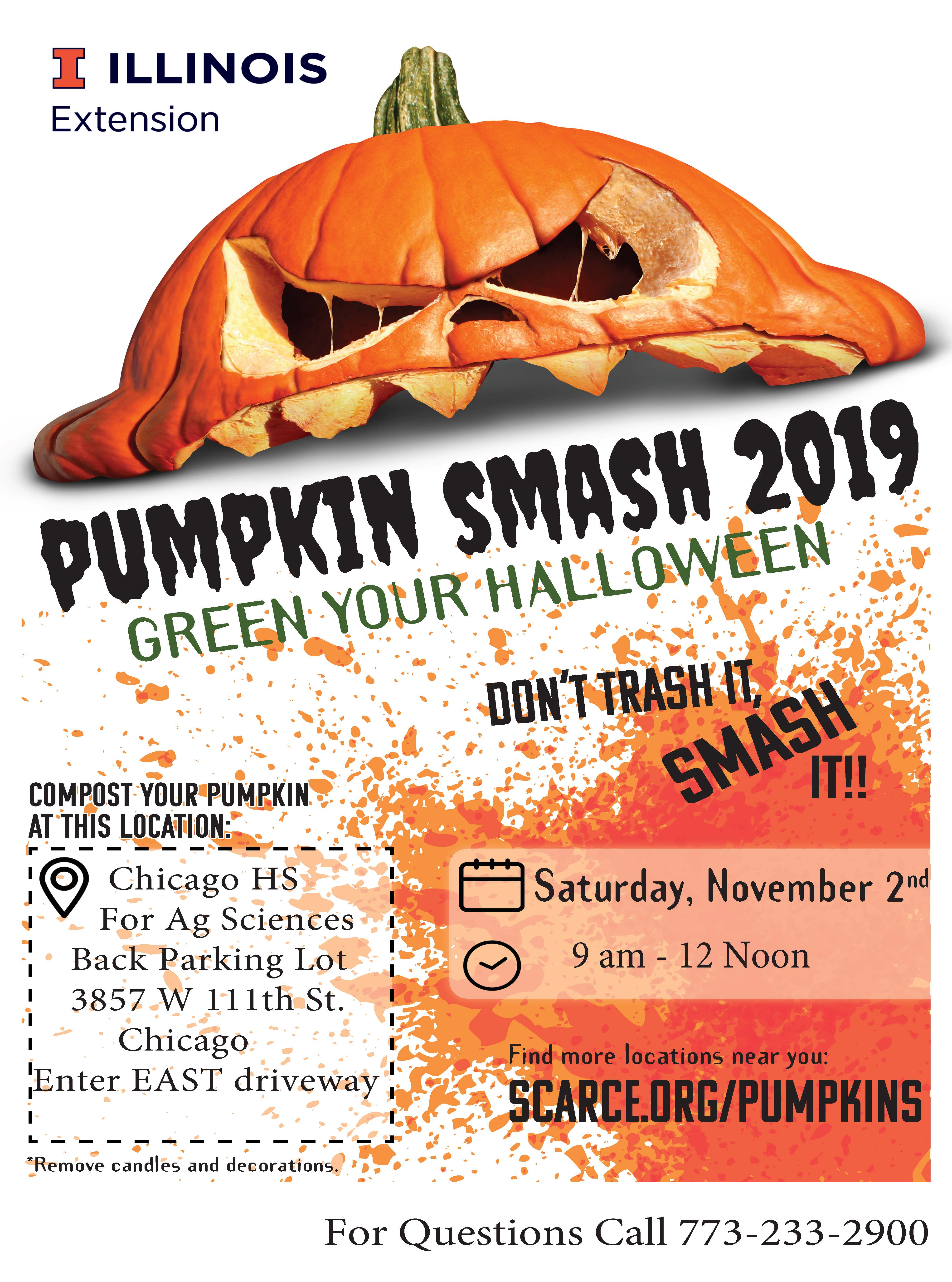 Green Your Halloween, Smashed Jack o Lantern announcing date, time and location
