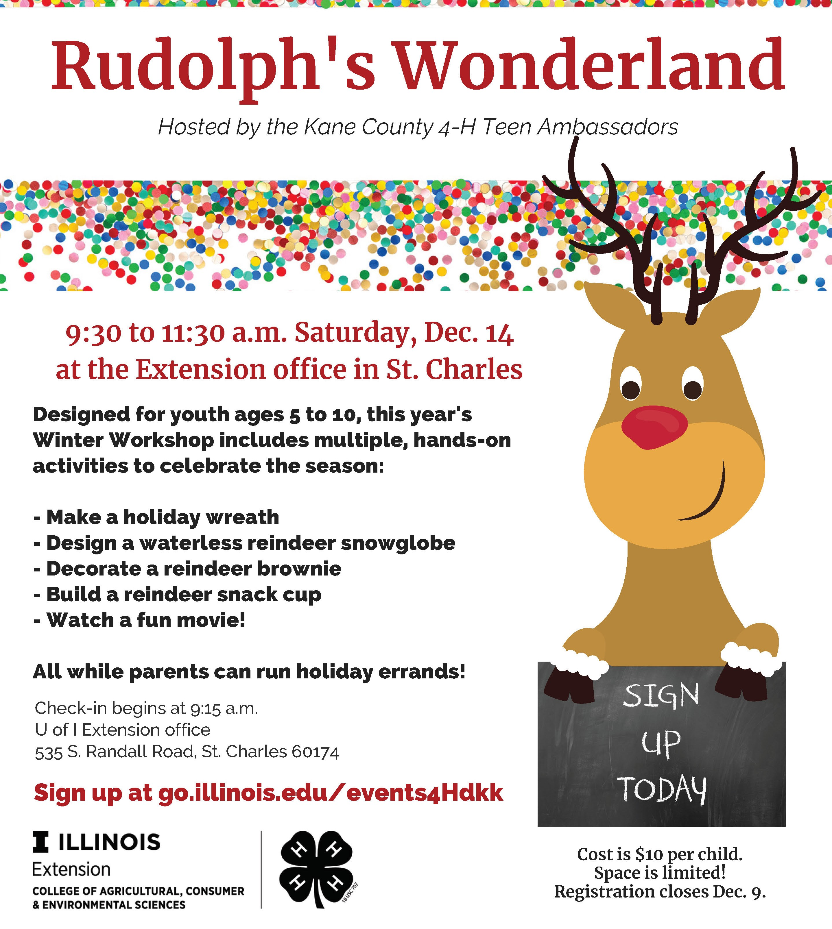 copy of flyer with reindeer cartoon