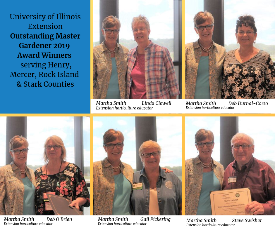 2019 Outsanding Master Gardener Award Winners from Rock Island and Henry Counties