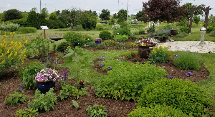 herb garden at Illinois State University horticulture center