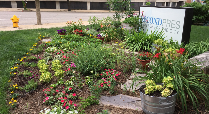 garden space at Friends First program site in Downtown Bloomington