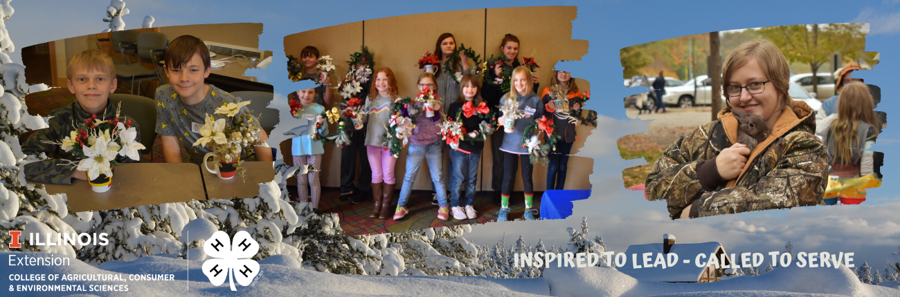 winter scene background with pictures of 4-H youth