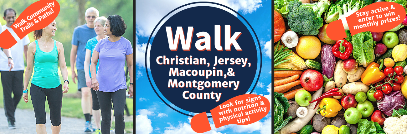 People walking and fruits and vegetables with encouragement to walk in Christian Jersey Macoupin and Montgomery County