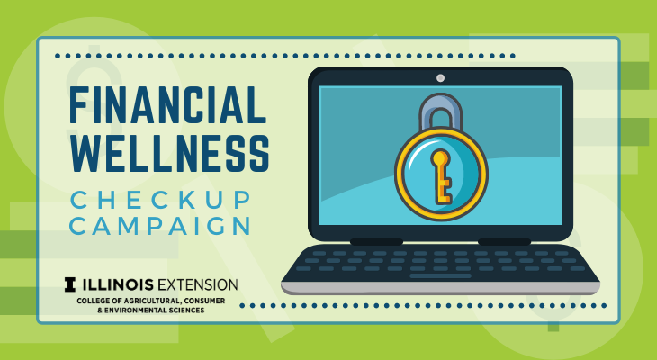 Financial Wellness Checkup Campaign text next to a black cartoon laptop computer with a padlock on the screen.