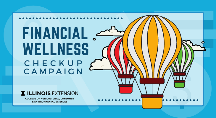 """Financial Wellness Checkup Campaign"" text, with three cartoon hot air balloons and three clouds."