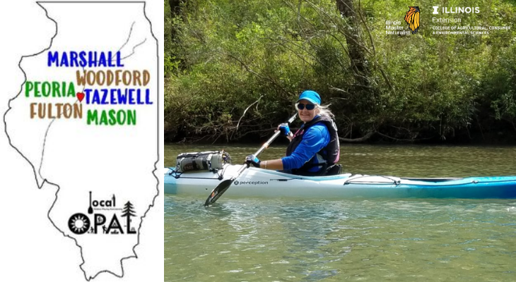 Header image of Local OPAL creator Julie Robinson in a Kayak with the Local OPAL Logo