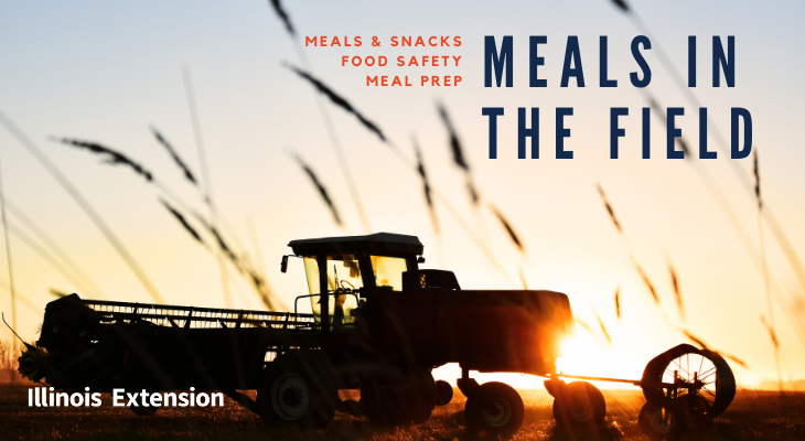 Farming combine in background with text in foreground reading Meals in the Field