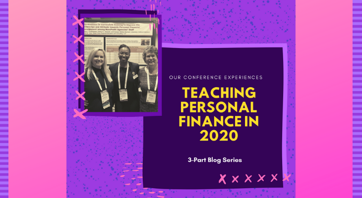Teaching Personal Finance 2020 title with image of three educators