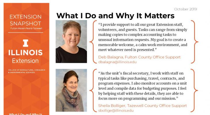 clip of the Snapshot Hard Copy, includes Deb Balagna and Sheila Bolliger's staff photos