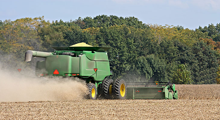Corn Harvester in field