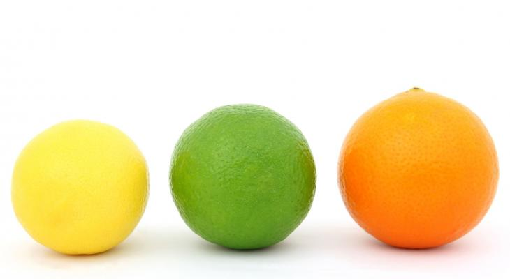 Picture of a lemon, lime, and orange on white background