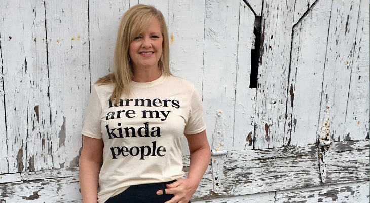 Photo of Michelle Sirles with farmer t-shirt
