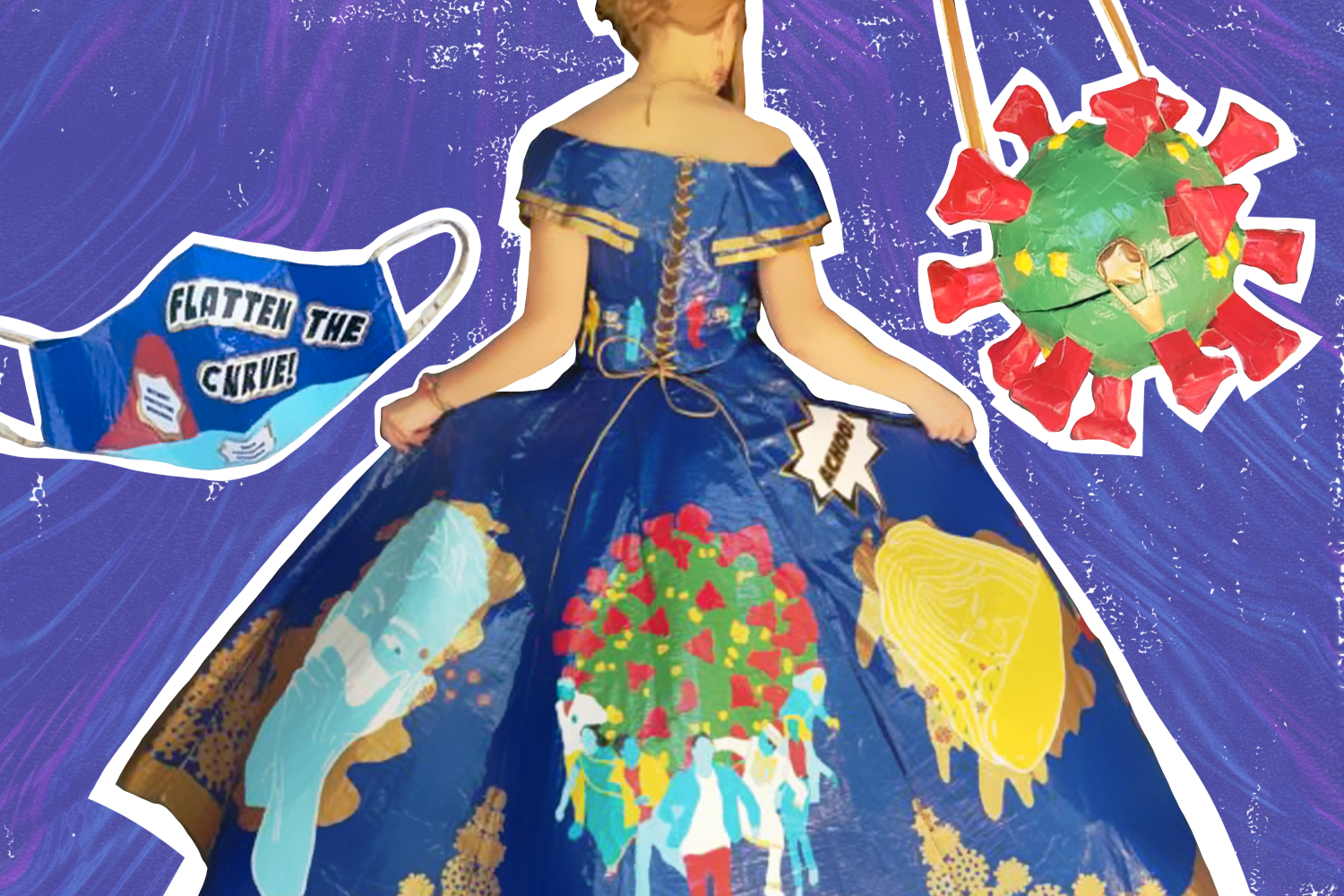 Graphic compilation of COVID-19 dress made of duct tape
