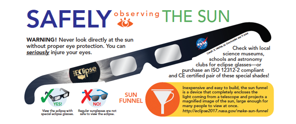 NASA directions for Solar Eclipse Glasses