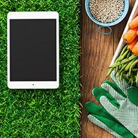 Tablet on fake grass next to carrots, garden gloves and seeds.
