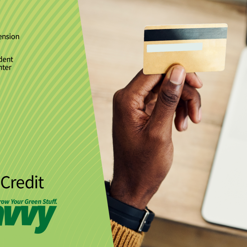 Get Savvy webinar Conscious Credit. Hand holding a credit card in front of open laptop