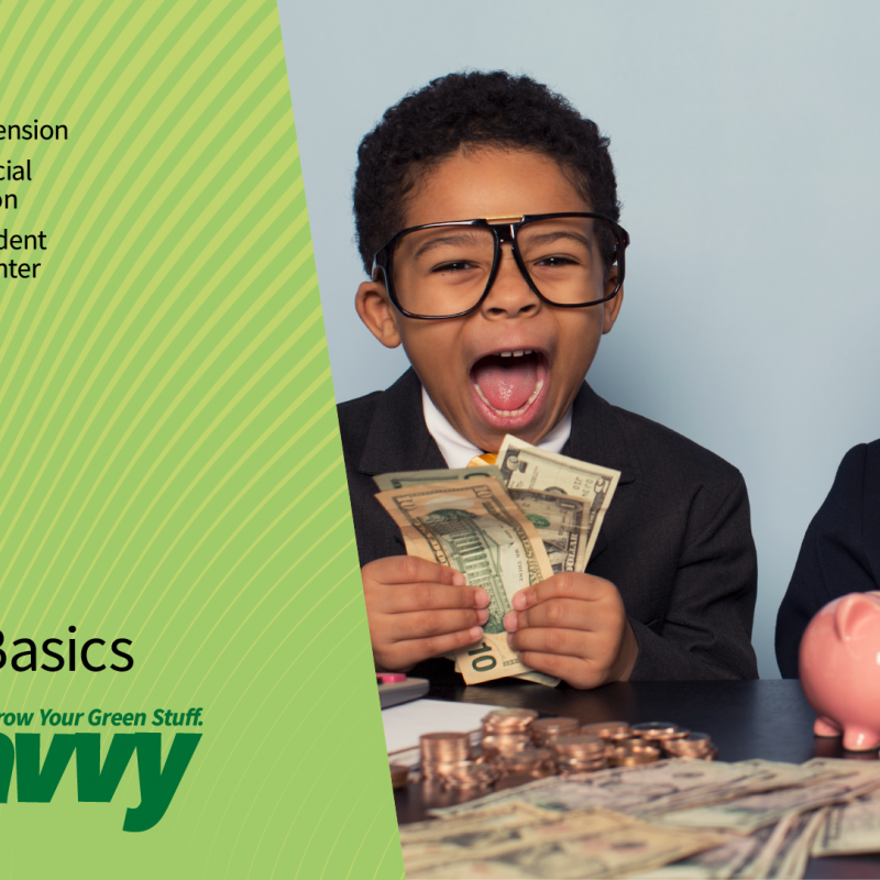 Get Savvy webinar Investing Basics. Two young children dressed in business suits and wearing glasses holding money in excitement.