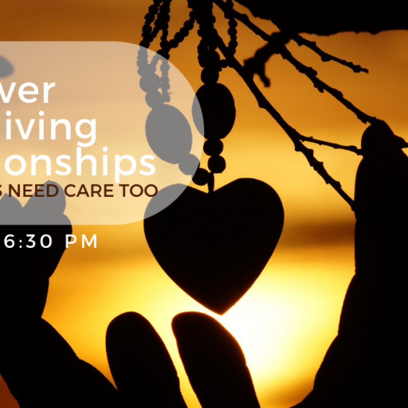 Discover care-giving webinar Oct 8 at 6:30 pm addresses self-care for caregivers.