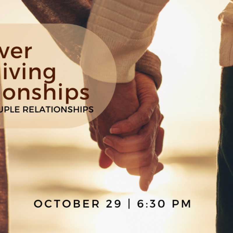 Discover care-giving relationships webinar Oct 29 at 6:30 pm addresses the stress and solutions for couple care when one or both is in a caregiving situation.