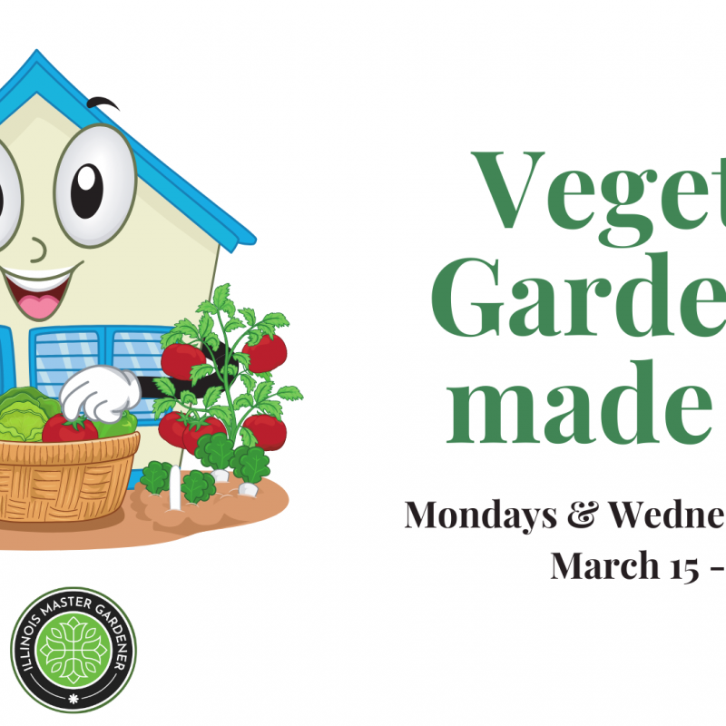 Cartoon house with vegetables, text saying Vegetable Gardening Made Easy, Mon & Wed 10 am, March 15-31 via Zoom