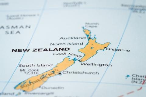 New Zealand on a map.