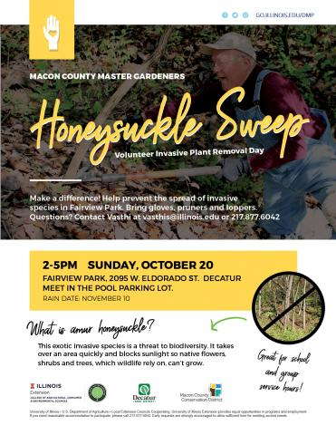Flyer with a man cutting honeysuckle.