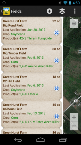 Screenshot of Pesticide and Field Records App
