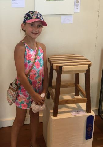 Evie Ribbing stands in front of her first woodcraft project, a stool with a multicolored top, which won a best overall ribbon at the Clinton County Fair in 2017.