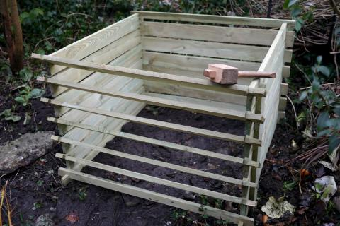 photo of wooden compost bin